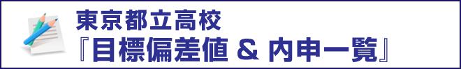 【東京都立】内申&偏差値一覧